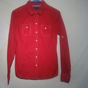 Tommy Hilfiger Red LS button down shirt. Small
